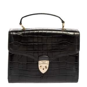 Aspinal Of London Black Croc Embossed Leather Mayfair Top Handle Bag