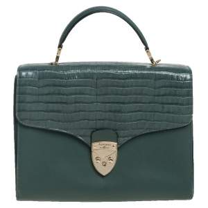 Aspinal Of London Green Croc Embossed and Leather Mayfair Top Handle Bag