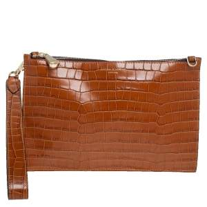 Aspinal Of London Brown Croc Embossed Leather Soho Wristlet Clutch