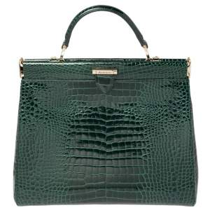 Aspinal Of London Green Croc Embossed Leather Top Handle Bag
