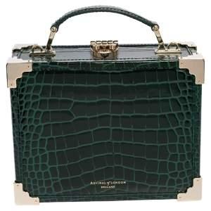 Aspinal of London Green Croc Embossed Leather Trinket Top Handle Bag