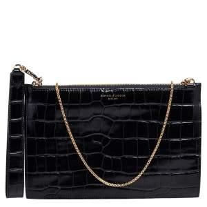 حقيبة كلتش أسبينال أوف لندن سوهو جلد نقش تمساح أسود