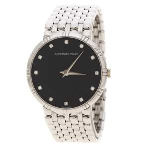 Audemars Piguet Black Dial 18K White Gold And Diamonds Classique Vintage Women's Wristwatch 31 mm