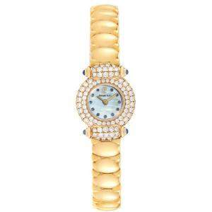 Audemars Piguet Blue MOP Diamond 18K Yellow Gold Women's Wristwatch 21.2MM X 25.5MM