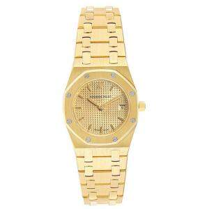 Audemars Piguet Champagne 18K Yellow Gold Royal Oak 67075 Women's Wristwatch 24 MM