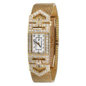 Audemars Piguet White Diamonds 18K Yellow Gold Charleston 67025BA Women's Wristwatch 15 MM