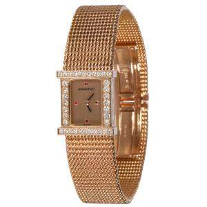 Audemars Piguet Champagne Diamonds 18K Rose Gold Charleston Charleston Women's Wristwatch 16 x 6 MM