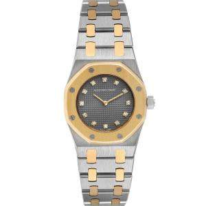 Audemars Piguet Grey Diamond 18K Yellow Gold And Stainless Steel Royal Oak Women's Wristwatch 26 MM