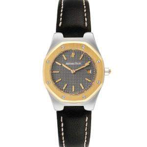 Audemars Piguet Grey 18k Yellow Gold And Stainless Steel Royal Oak Women's Wristwatch 28 MM