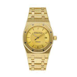 Audemars Piguet Champagne 18K Yellow Gold Royal Oak 15050BA.OO.0789BA.01 Women's Wristwatch 33.5 MM