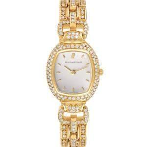 Audemars Piguet Silver Diamonds 18K Yellow Gold Audemarine 66474 Women's Wristwatch 23 x 35 MM
