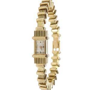 Audemars Piguet Silver 18K Yellow Gold Classique 416-22 Women's Wristwatch 6 x 7.5 MM
