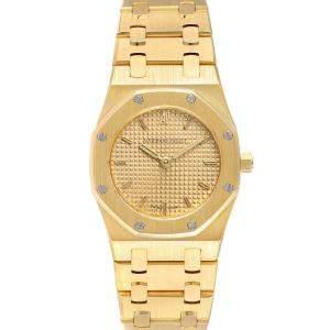 Audemars Piguet Champagne 18k Yellow Gold Royal Oak Quartz D6519 Women's Wristwatch 24 MM