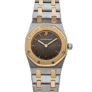 Audemars Piguet Grey 18K Yellow Gold And Stainless Steel Royal Oak 67075SA Women's Wristwatch 26 MM