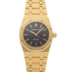 Audemars Piguet Black 18K Yellow Gold Royal Oak 15000BA.OO.0789BA.02 Women's Wristwatch 33 MM