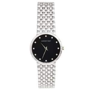 Audemars Piguet Black Dial 18K White Gold Diamonds Classique Vintage Women's Wristwatch 31 mm