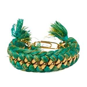 Aurélie Bidermann Green Braided Cotton Gold Plated Do Brasil Bracelet