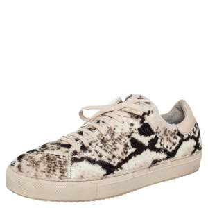 Axel Arigato Beige/Brown Pony Hair And Leather Low Top Sneakers Size 41