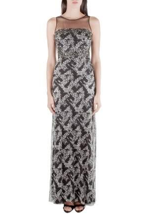 Badgley Mischka Black Sheer Yoke Beaded Sleeveless Evening Gown S
