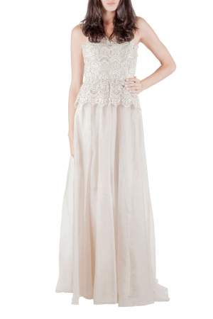 Badgley Mischka Collection Ivory Gold Embellished Peplum Lace Bodice Strapless Evening Gown S
