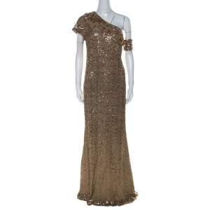 Badgley Mischka Gold Sequin Embellished Detail One Shoulder Gown XL