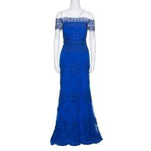 Badgley Mischka Cobalt Blue Floral Embroidered Tulle Embellished Gown M
