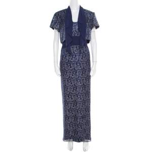 Badgley Mischka Blue Floral Metallic Lace Maxi Dress and Bolero Set L