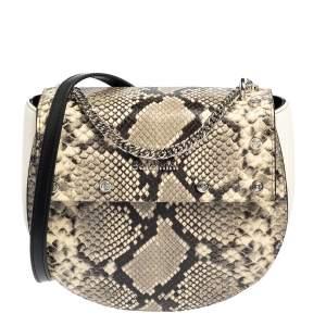 Baldinini White/Grey Python Embossed Leather and Leather Crossbody Bag