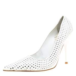 Baldinini White Patent Leather Crystal Embellished Pointed Toe Pumps Size 38