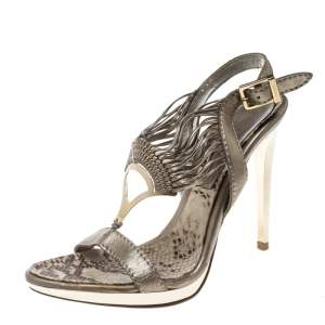 Baldinini Metallic Grey Strappy Leather Sandals Size 36