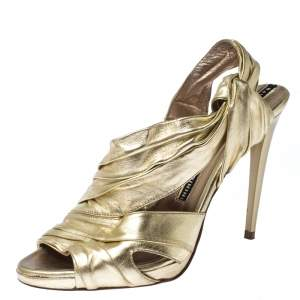 Baldinini Metallic Gold Leather Draped Peep Toe Sandals Size 38