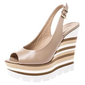 Baldinini Beige Leather Wedge Peep Toe Slingback Sandals Size 38.5