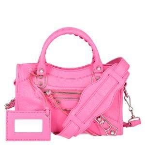 Balenciaga Pink Motocross Classic Mini Leather City Tote Bag