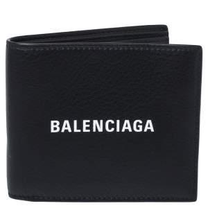 Balenciaga Black Leather Logo Bifold Wallet
