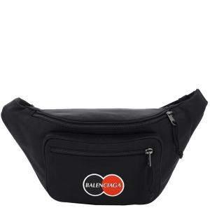 Balenciaga Black Nylon Explorer Patch Logo Uniform Belt Bag