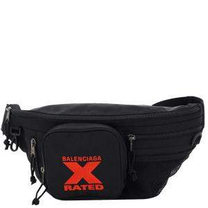 Balenciaga Black Nylon Embroidered X Logo Explorer Belt Bag