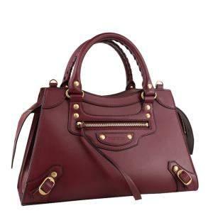 Balenciaga Burgundy Leather Neo Classic Small Top Handle Bag
