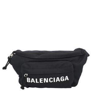 Balenciaga Black Nylon Wheel Belt Pack Bag
