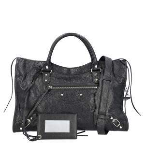 Balenciaga Black Leather Motocross Classic City Bag