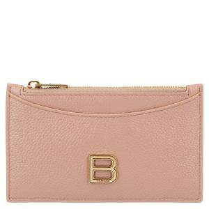 Balenciaga Pink Leather Hourglass Zipped Card Holder