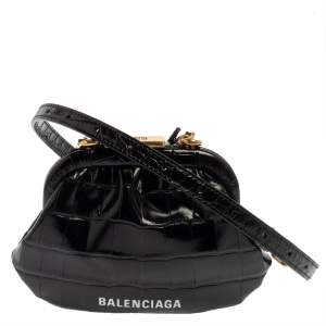 Balenciaga Black Croc Embossed Leather Cloud Coin Purse Clutch Bag