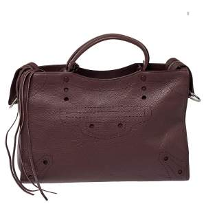 Balenciaga Burgundy Leather Medium Blackout City Tote