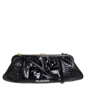 Balenciaga Black Crocodile Embossed Glossy Leather XL Cloud Clutch Bag