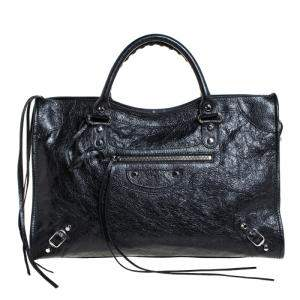 Balenciaga Black Leather Classic City Tote Bag