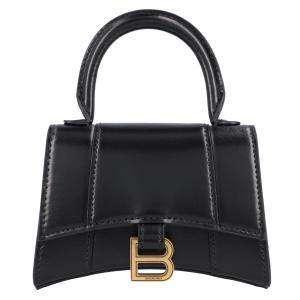 Balenciaga Black Leather Hourglass Mini Bag