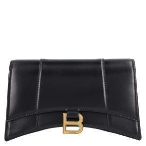 Balenciaga Black Leather Hourglass Shoulder Bag