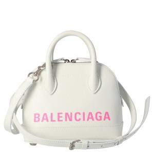 Balenciaga White Leather XXS Ville Top Handle Bag