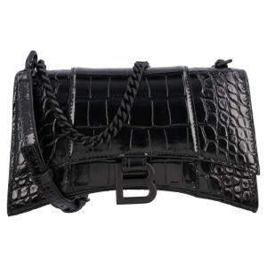 Balenciaga Black Croc Embossed Leather Small Hourglass Shoulder Bag