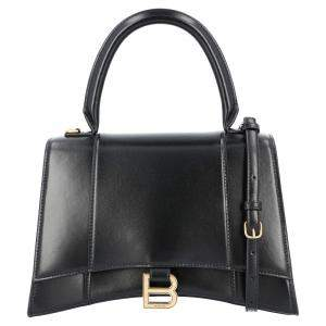 Balenciaga Black Leather Hourglass Small Top Handle Bag