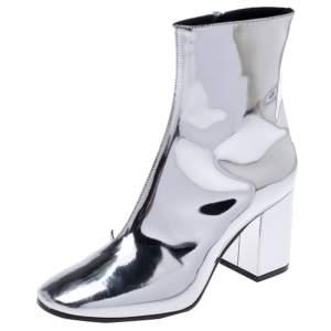 حذاء بوت للكاحل بالنسياغا جلد فضي ميتالك مقاس 36